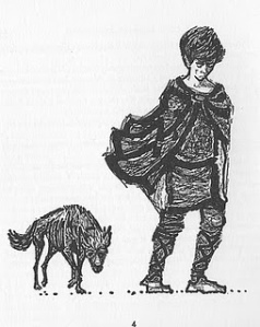 Dog in Rosemary Sutcliff book illustration by Charles Keeping