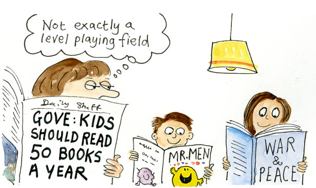 Guardian Cartoon on Michael Gove's 50 book proposition