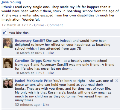 Comments about Rosemary Sutcliff from facebook