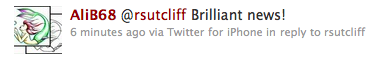 A tweet about the Rosemary Sutcliff blog post on April 22nd