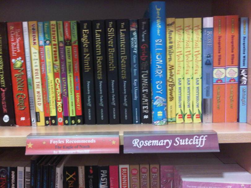 Shelves at Foyles with Rosemary Sutcliff books