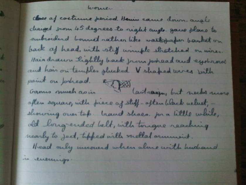 Excerpts from Rosemary Sutcliff note book on costume