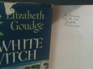 Frontispiece of Elizabeth Goudge book, The White Witch, signed for Rosemary Sutcliff