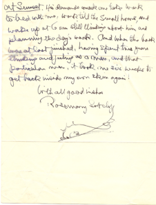 Part of a etter from Rosemary Sutcliff to Helen Hollick