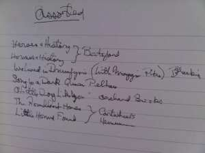 Assorted Rosemary Sutcliff titles in her own handwriting