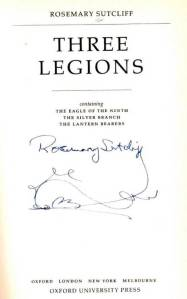Rosemary Sutcliff signature on front page of Three Legions
