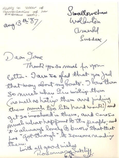 Letter from Rosemary Sutcliff to Jean Shuttleworth