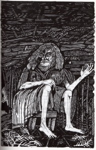 Reproduction of an illustration from an edition of Rosemary Sutcliff's Sword st Sunset