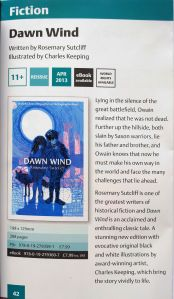 Extract from the OUP Catalohue 2-13 for Rosemary Sutcliff's Dawn Wind reprinted