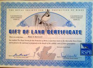 Rosemary Sutcliff RSPB land gift