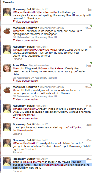 Twitter exchange with MacMillan Childrens Books