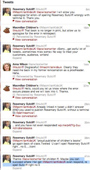 Twitter exchange with MacMillan Childrens Books