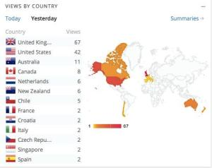 Map of countries of viewers of Rosmeay Sutcliff blog