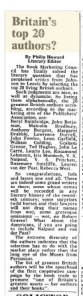 Article from The Times newspaper on top 20 20th century living authors at circa 1980