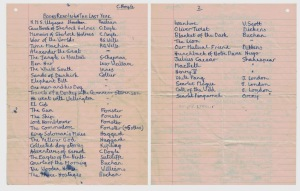 Young reader CB's booklist, including Rosemary Sutcliffe's (sic) The Eagles of the Ninth (sic); should be The Eagle of the Ninth, singular