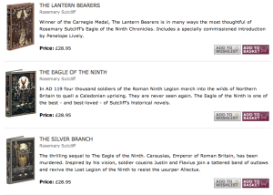 The Lantern Bearers, The Eagle of the Ninth, The Silver Branch by Rosemary Sutcliff, Folio Editions