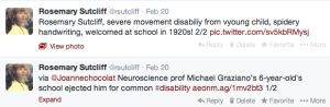 Two Tweets about Rosemary Sutcliff disability