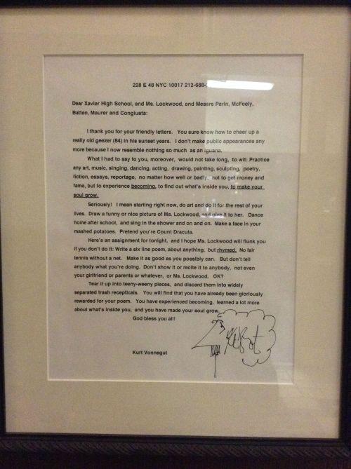 Kurt Vonnegut letter