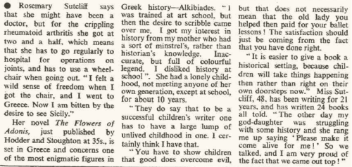 Times Oct 27 1969 on Rosemary Sutcliff