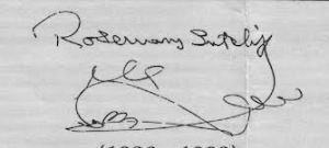 Signature of Rosemary Sutcliff showing her name is not Sutcliffe with an E