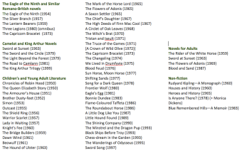 List of Rosemary Sutcliff's books